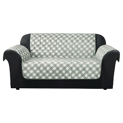 target sofa loveseat covers sofas and sectionals cheap furniture flair gingham plaid cover grey sure fit