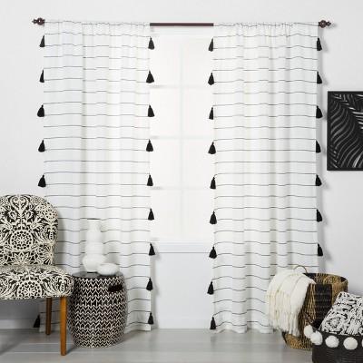 63 x54 contrast stripe light filtering window curtain panel with tassel black white opalhouse