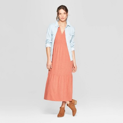 Women's Short Sleeve V-Neck Cap Sleeve Midi Dress - Universal Thread™ Copper