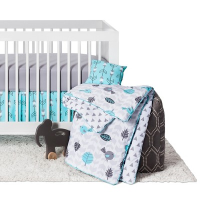 Sweet Jojo Designs Earth & Sky 11pc Crib Bedding Set - Turquoise & Gray