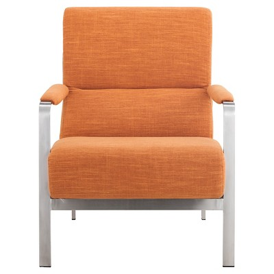 orange upholstered chair hanging design mid century modern and brushed stainless steel arm zm home target