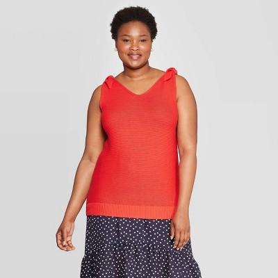 Women's Plus Size V-Neck Sweater Tank Top - Ava & Viv™