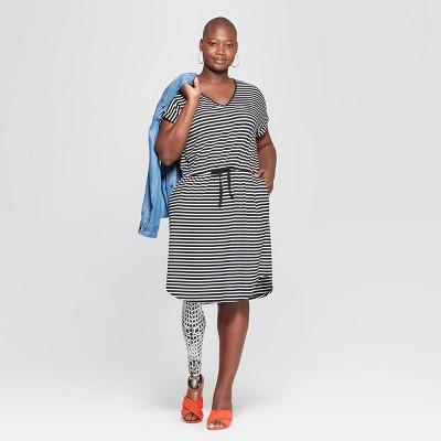 Women's Plus Size Striped Short Sleeve V-Neck Knit Dress - Ava & Viv™ Black/Cream