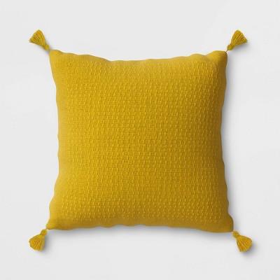 woven tasseled outdoor throw pillow yellow opalhouse