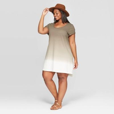 Women's Plus Size Cap Sleeve U-Neck T-Shirt Dress - Universal Thread™ Olive