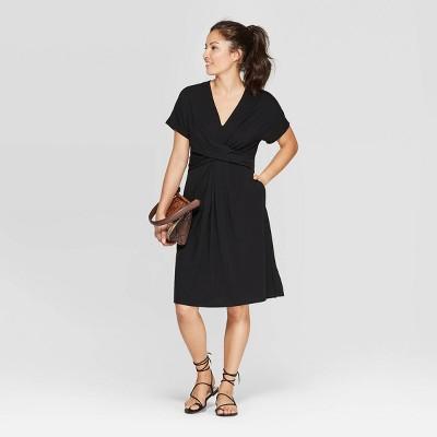 Women's Short Sleeve V-Neck Twist Knit Midi Dress - A New Day™