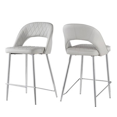 """24"""" Set of 2 Alana Chrome Finish Counter Stool Quilted Faux Leather - Black - Inspire Q"""
