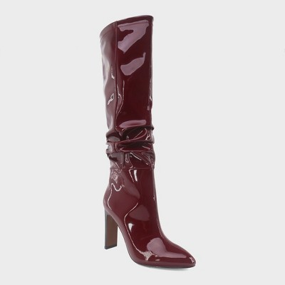 Women's Leigh Patent Slouch Tall Fashion Boots - Who What Wear™ Burgundy