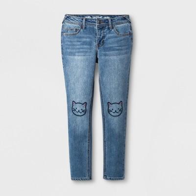 Girls' Skinny Embroidered Cat Jeans - Cat & Jack™ Medium Wash