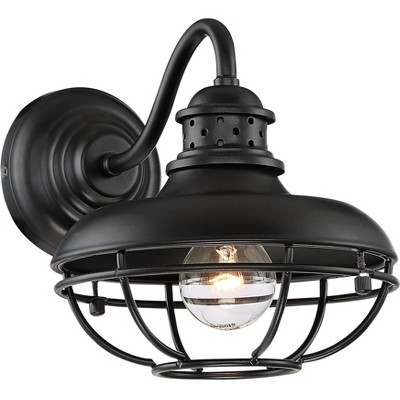 franklin iron works farmhouse vintage outdoor barn light fixture black 9 open metal cage for exterior house porch patio outside