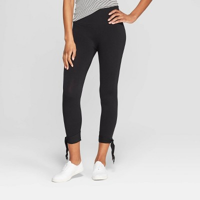 Women's High Waist Seamless Ankle Tie Capri Leggings - Xhilaration™ Black