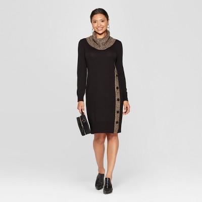 Women's Cowl Neck Button Side Sweater Dress - Spenser Jeremy - Black