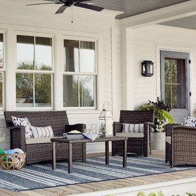 halsted 4pc all weather wicker patio conversation set threshold