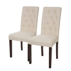 Cream Upholstered Dining Chairs Lycra Chair Covers For Sale Uk Set Of 2 Tufted Back Glitzhome