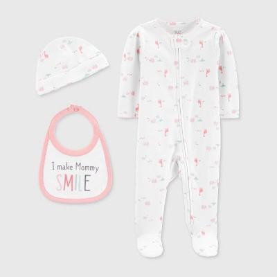 Baby Girls' 3pc Footed Sleeper - Just One You® made by carter's White