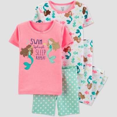 Baby Girls' 4pc Pink Mermaid Pajama Set - Just One You® made by carter's Pink/Green/White