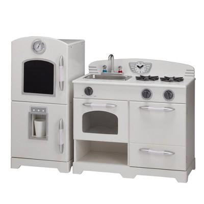 retro kids kitchen seating teamson wooden play white 2pc target