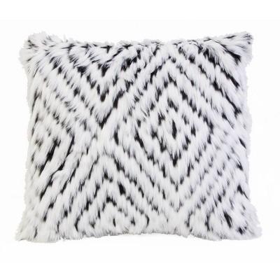 22 x22 zola faux fur pillow white black decor therapy