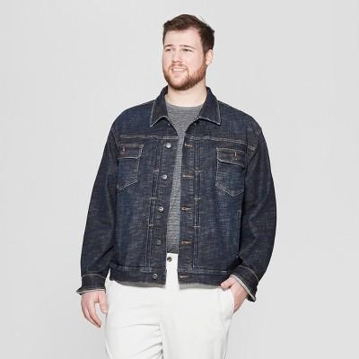 Men's Big & Tall Crosshatch Vintage Denim Jacket - Goodfellow & Co™ Dark Wash
