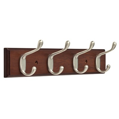 "15.85"" Rail with 4 Heavy Duty Coat & Hat Hooks Bark Satin Nickel - Franklin Brass"