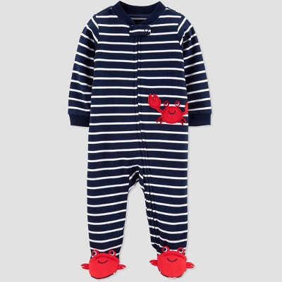 Baby Boys' Crab Embroided Stripe Sleep 'N Play One Piece Pajama - Just One You® made by carter's Navy/White