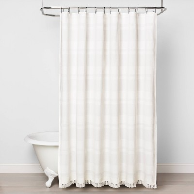 textured stripe shower curtain white hearth hand with magnolia