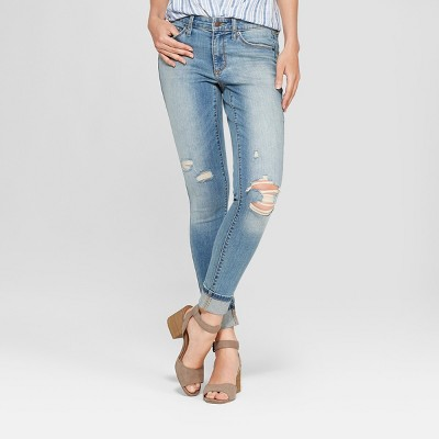 Women's Mid-Rise Distressed Skinny Jeans - Universal Thread™ Medium Wash