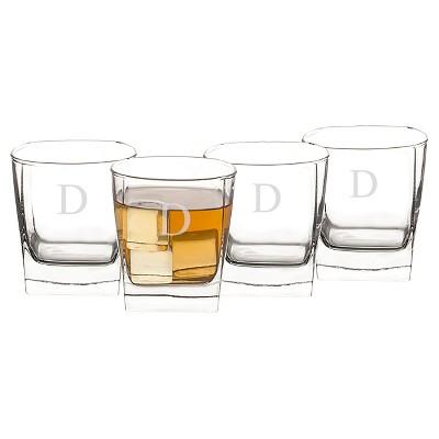 Cathy's Concepts 10.5oz 4pk Monogram Whiskey Glasses A-Z