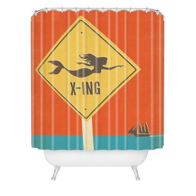 Mermaid Shower Curtain Orange - Deny Designs