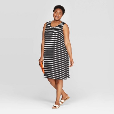 Women's Plus Size Striped Sleeveless Scoop Neck Knit Dress - Ava & Viv™ Black/White