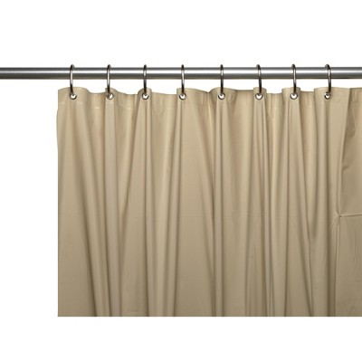 carnation home 3 gauge vinyl shower curtain liner w weighted magnets and metal grommets in linen