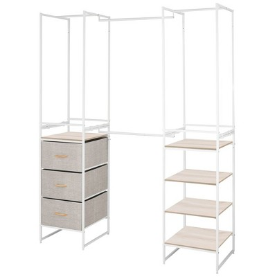 mdesign closet organizer 3 drawer 4 garment racks 5 shelf linen natural