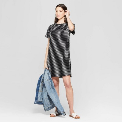 Women's Striped Short Sleeve V-Neck T-Shirt Dress - Universal Thread™ Black/White
