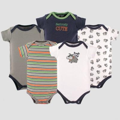 Luvable Friends Baby Boys' 5pk Bodysuits, Bull Dog - Gray