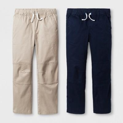 Boys' 2pk Pull-On Pants - Cat & Jack™ Beige/Blue