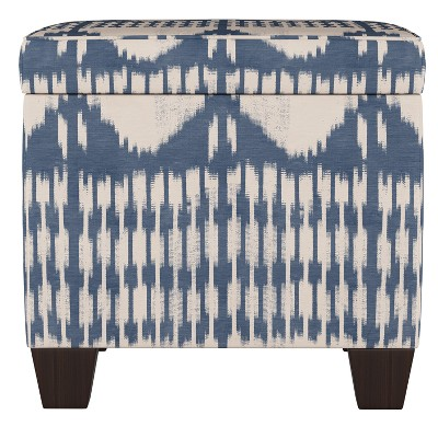 fairland square storage ottoman ikat tonal blue threshold