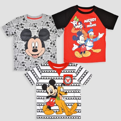 Toddler Boys' 3pk Disney Mickey Mouse & Friends Short Sleeve T-Shirt - Black/Red