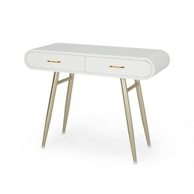 dehaviland modern wood vanity table white champagne gold christopher knight home