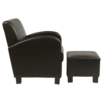 black leather club chair and ottoman hickory couch faux with espresso office star target 4 more