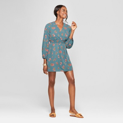 Women's Floral Print Wrap Dress - Lots of Love by Speechless (Juniors') Teal
