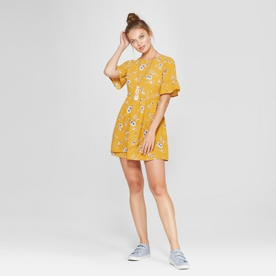 Women's Floral Print Ruffle Sleeve Wrap Dress - Lots of Love by Speechless (Juniors') Mustard
