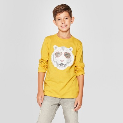Boys' Cool Tiger Long Sleeve Graphic T-Shirt - Cat & Jack™ Yellow