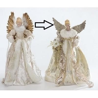"Roman 16.5"" Graceful Golden Angels Christmas Tree Topper - Unlit"
