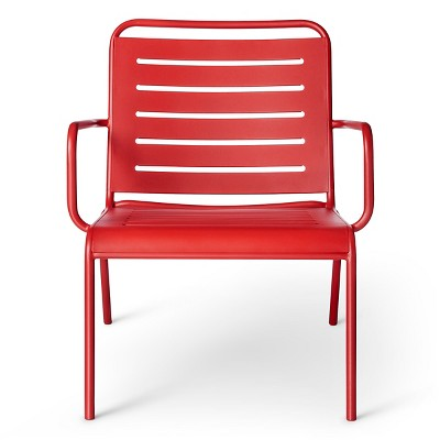 metal deep seat patio chair red