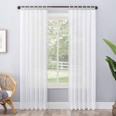 63 x50 ceri linen textured jute tabs semi sheer curtain panel white no 918