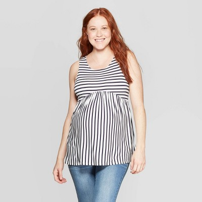 Maternity Striped Sleeveless Scoop Neck T-Shirt - Isabel Maternity by Ingrid & Isabel™ Navy