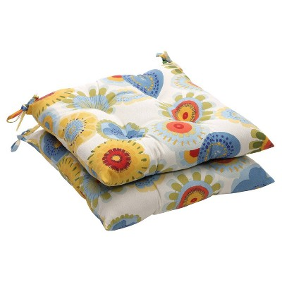 outdoor 2 piece tufted chair cushion set blue white yellow floral