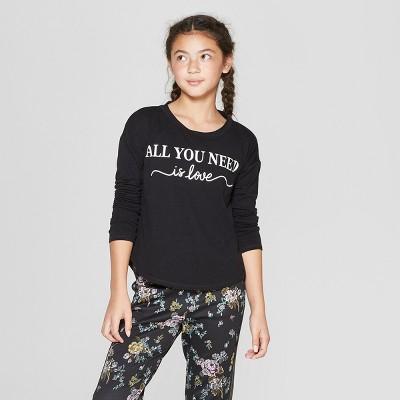 Girls' Long Sleeve Graphic T-Shirt - art class™ Black