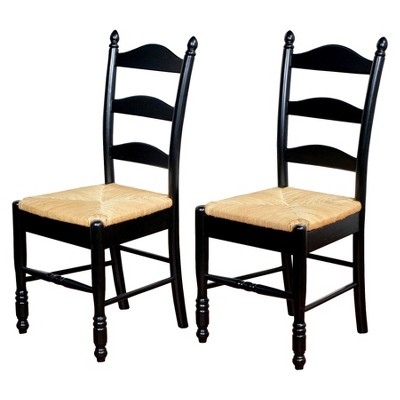 ladderback dining chairs ivory chair covers spandex ladder back wood black set of 2 tms target