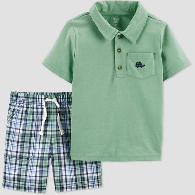 Toddler Boys' 2pc Plaid Turtle Shorts Set - Just One You® made by carter's Green